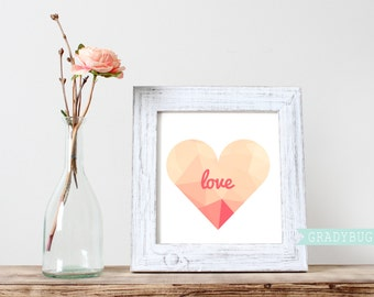 Digital Print, Love Wall Decor, Heart Wall Decor, printable, printable quote, gold foil, pink, gold heart, valentine print