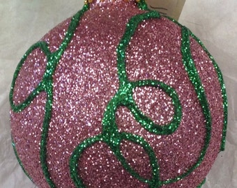 """OOAK """"Thread"""" Glittered Christmas Ornament in pink and grass green - 2 5/8 inches diameter"""