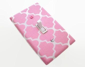 Quatrefoil Light Switch Cover - Girls Pink Nursery Decor - Quatrefoil Pink Switchplate - Girls Pink Baby Room - Girls Baby Shower Gift