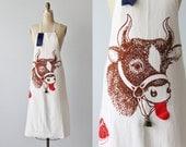 Vintage 1940s 1950s Butcher's Apron / Barbecue Grilling Apron / White Cotton Full Size Apron / Retro Advertising Collectible Apron