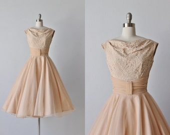 Vintage Nude Chiffon Lace Full Skirt Dress / 1960s Dress / Formal Dress / Baby Kiss