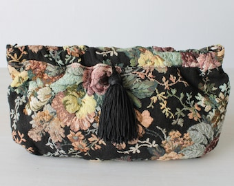 Vintage Tapestry Clutch Purse / Tassel Trim / Optional Shoulder Strap / Dusk's Garden