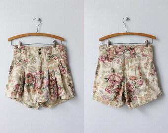 High Waist Floral Print Denim Shorts / 1980s Shorts / Denim Shorts / Paperbag Shorts / Z. Cavaricci Shorts