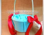 Custom Colors Satin Flower Girl Basket..BOGO Half Off..You Choose The Colors..Shown in turquoise/red