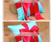 Romantic Satin Ring Bearer Pillow ...You Choose the Colors...SET OF 2..shown in turquoise/red