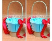 Custom Colors Satin Flower Girl Basket..SET OF 2..You Choose The Colors..Shown in turquoise/red
