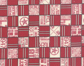 SUMMER SALE - Varsity - 1 yard - Game Time in Apple Red (5590 12) - Sweetwater for Moda Fabric