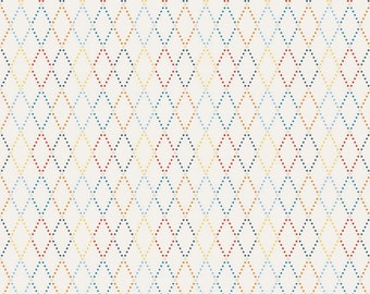 SPRING SALE - Lucky Star - 1 yard - C4832-Argyle in Cream - Zoe Pearn for Riley Blake Designs