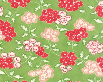 SPRING SALE - Hello Darling - 1 Yard - Medium Floral in Green (55113-15) - Bonnie and Camille for Moda Fabrics
