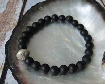 MEN'S MATTE ONYX with Tribal Bead, yoga, mala, boho, tribal