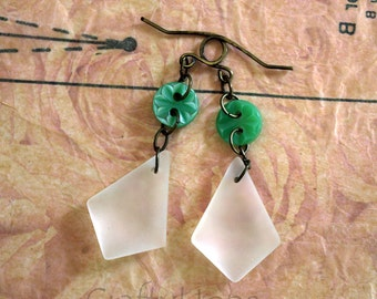 Button and Sea Glass Earrings