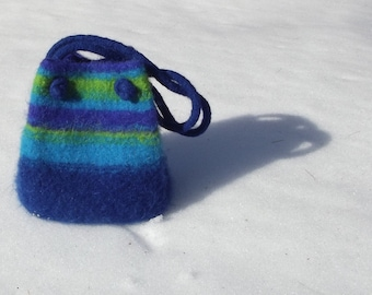 felted wool tote, small tote, blue, turquoise, lime