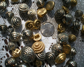 Bag of 50 Silver and Gold Metal Buttons  Assorted Sizes
