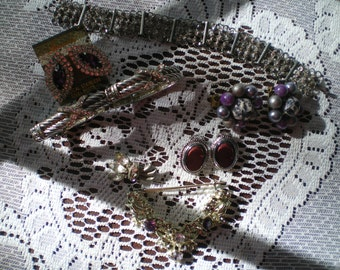 Destash Lot of Vintage Silver Tone and Amethyst Wearable and Craft Jewelry Wear, Recycle, Repurpose