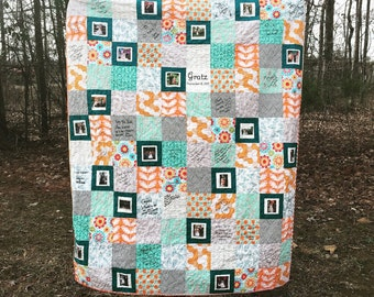 Wedding Guest Book Quilt with photos, Photograph and Autograph Quilt, Wedding Quilt, Anniversaries, guest book alternative, You pick fabrics