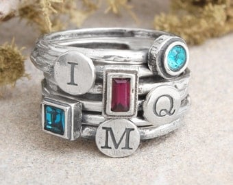 Mother's Stackable Birthstone Initial Ring. Silver Stack Ring set of 6. Family Ring represents each child with an initial & birthstone.