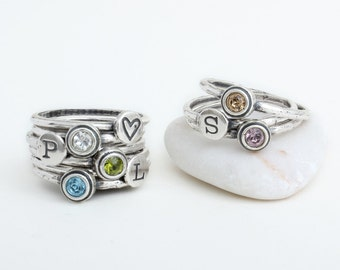 Mothers Rings Stacked Rings Sterling Silver Stackable Hand Stamped Custom Mothers Rings Birthstones and Initials. Design your own ring!