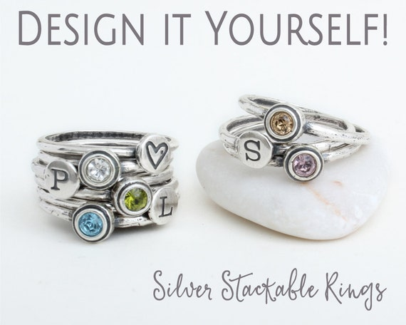 design your own silver stackable rings mix by nelleandlizzy