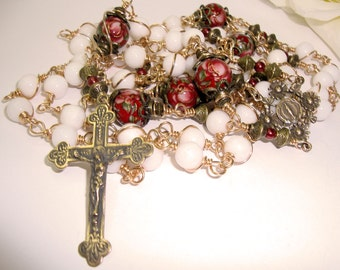 Catholic rosary, Mary with Flowers rosary, white jade rosary, tensha red rose beads, wire wrapped rosary, unbreakable, Easter. free shipping