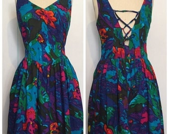 ON HOLD for JH - 90s Floral Lace Up Dress Size 14