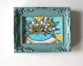 Original Acrylic Still life, Tulips, Daisies, pansies, Home Decor, Shabby Turquoise Frame, gift idea