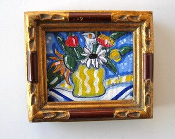 Sunflower Painting, Acrylic on Canvas, Framed Art, Home Decor, blue and yellow, original, tulips, gift idea