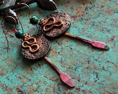 Celtic Jewelry, Tribal, Viking, Copper Earrings