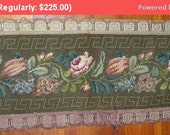 30% Off SALE- Gorgeous Antique Mid-19thc Roses Wool Silk Needlework Runner Pillow Tapestry