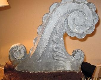 Surprise SALE - Antique Zinc Architectural Finial Tin Salvage