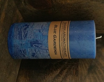 """Blue Gardenia Scented Pillar Candle 3""""x6"""" Tall Classic Floral Candle"""