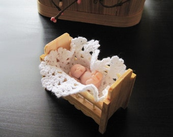 Polymer Clay Baby Doll 1.5 inch  with Crib and Crocheted  Blanket