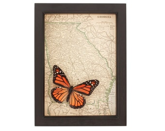 Antique Map of Georgia with Monarch Butterfly