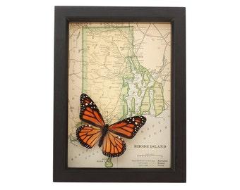 Framed Map of Rhode Island with Monach Butterfly Danaus plexippus