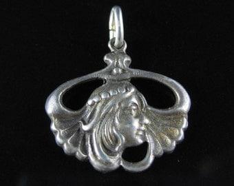 Pendant, Sterling Silver, Art Nouveau Style, Womens Portrait, Face, Silver Charm, Pendent, 925