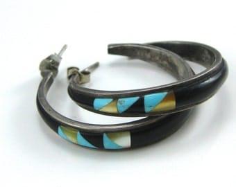 Vintage Inlaid Stone Southwestern Large Hoop Earrings Black Onyx Turquoise MOP
