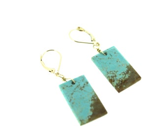 sale number 8 turquoise earrings . bohemian turquoise earrings . one of a kind gold and turquoise earrings jewelry . ready to ship