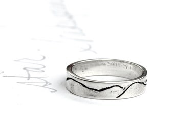 thin mountain wedding band ring . sterling silver stacking mountain landscape band . unisex commitment ring . ready to ship size 5 6 7 8 9