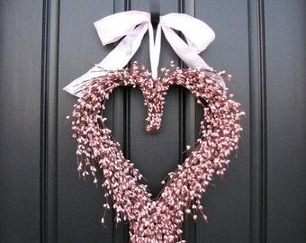 Pink Heart Wreath, Heart Wreath, Pink Heart Wreaths, Pink Ribbon, Valentine's Pink Wreath, Heart Wreaths