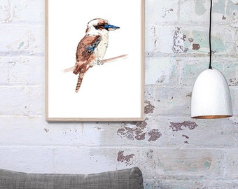 A3, A2 or A1 Australian Kookaburra bird watercolour, giclee art print, wall art, home décor