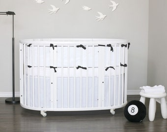 Stokke Sleepi Bedding // - Pure white // choose your piping & ties 32 colors // Ready To Ship in 2-3 weeks