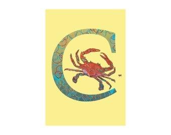 C is for Crab Open Edition Fine Art Alphabet Print // Nursery Art Gift Housewarming School Classroom // 13x19, 8.5x11, or 5x7