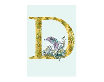 D is for Dolphin Alphabet Animal Art Print // Nursery Art School Classroom Education Baby Shower Gift // 13x19, 8.5x11, or 5x7