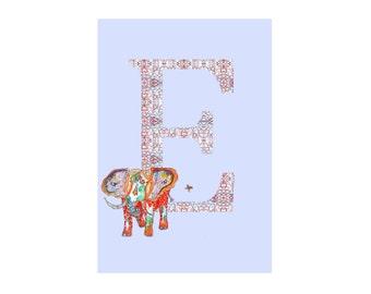 E is for Elephant Alphabet Animal Art Print // Nursery Art School Classroom Education Baby Shower Gift // 13x19, 8.5x11, or 5x7