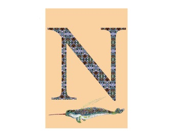 N is for Narwhal Alphabet Animal Art Print // Nursery Art School Classroom Education Baby Shower Gift // 13x19, 8.5x11, or 5x7