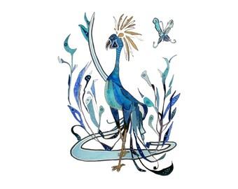 Blue Phoenix Feminine Side Art Print from Original // Home Decor 13x19, 11 x 14, 8 x 10, 5x 7