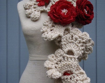 CROCHET SCARF Christmas scarf  Handmade scarf long scarf   -  Sea Shell  Neckwarmer