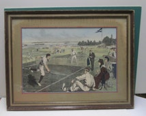 Hand Colored Tennis Print Vintage by A B Frost Framed Sports Illustration Victorian Edwardian Sporting Event Print