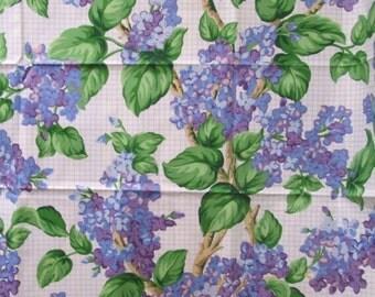 Lilac Chintz 48x54 Home Decor Fabric 1.5 yd Hydrangea Floral Purple Lavendar Blue Violet Polished Cotton Remnant
