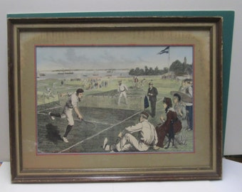 Tennis Print Hand Colored Vintage by A B Frost Framed Sports Illustration Victorian Edwardian Sporting Event Print