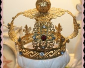 RESERVED FOR S   Vintage crown jeweled  for Statue Fabulous French Fleur de Lis accents  Infant crown